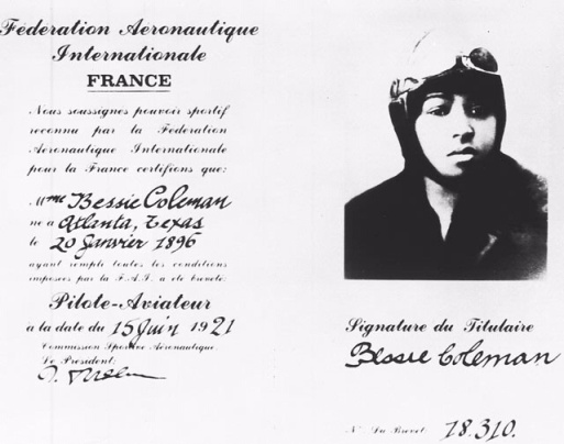 Bessie Coleman_pilot license_France